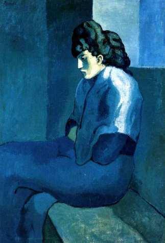 Femme-assise-au-fichu-La-Mélancolie-Picasso-1902-